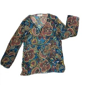 Chico's Silk Tunic Top Sz 1 Medium Paisley Blue